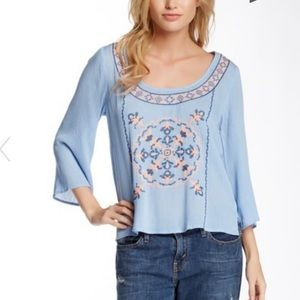 Flying Tomato Embroidered Baby Blue Blouse